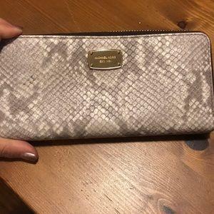 Michael Kors snake skin zip up wallet